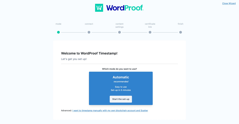 The WordProof setup wizard.