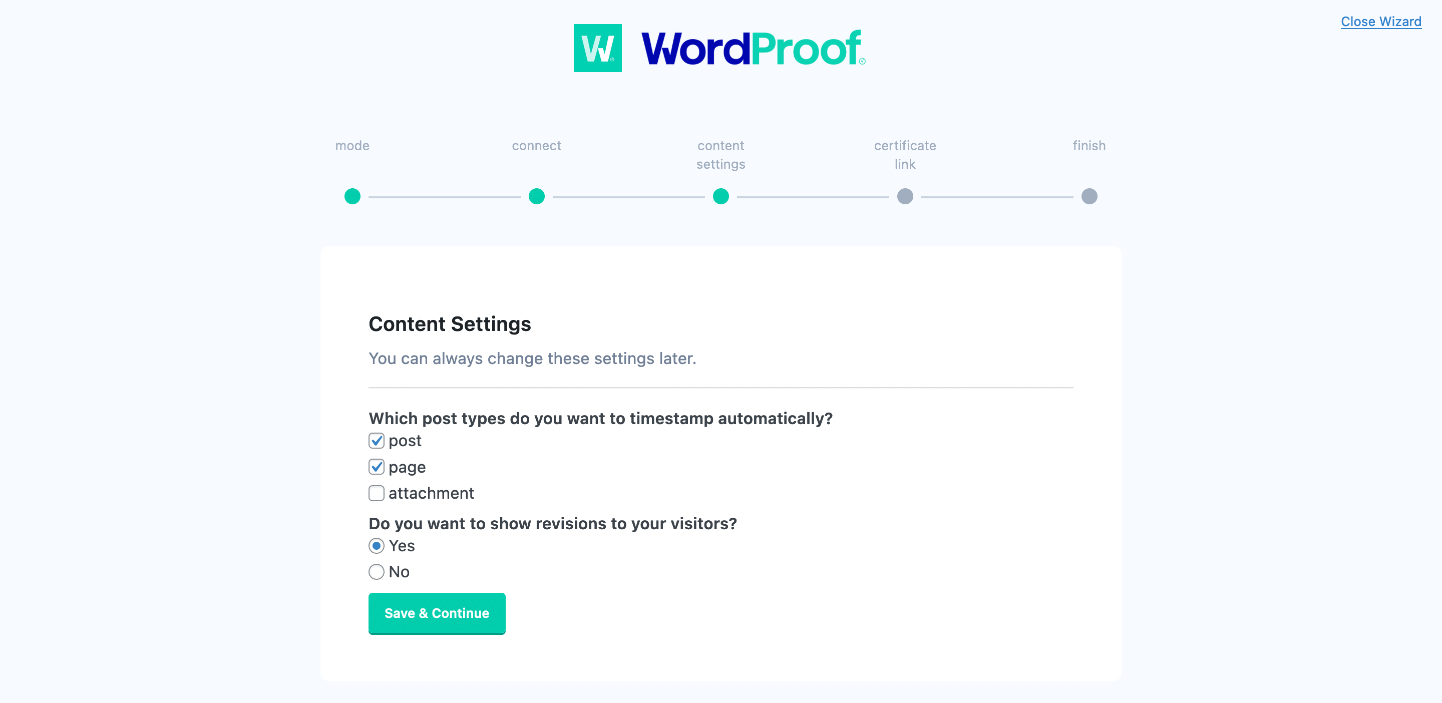 Running through the content settings within WordProof.