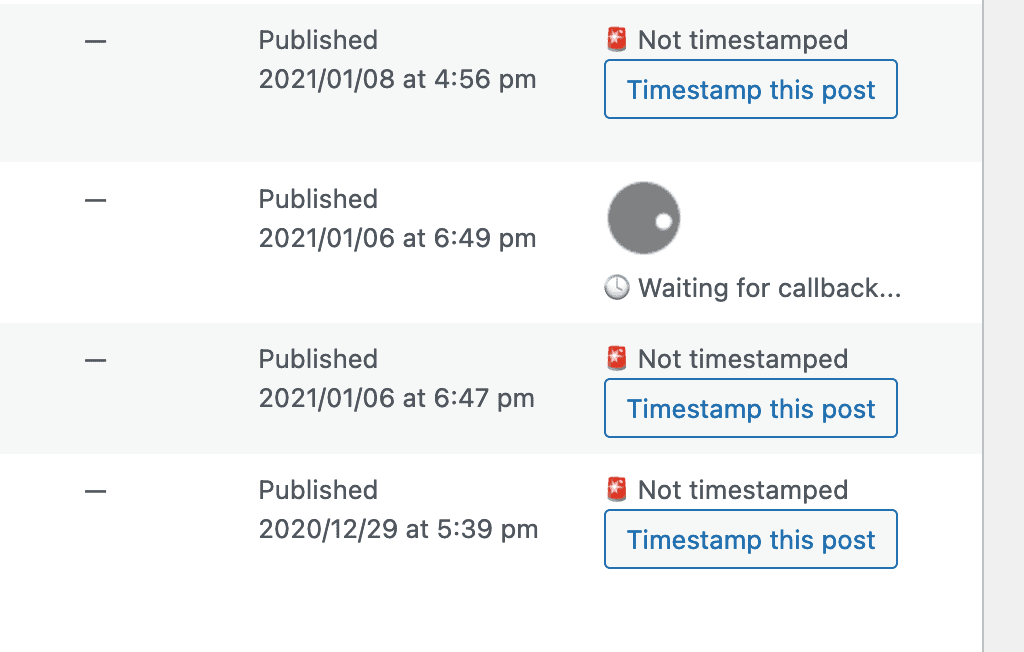 Waiting for a timestamp callback in WordPress.