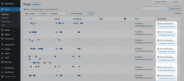 Adding a timestamp in WordPress.