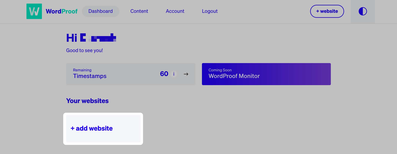 The WordProof dashboard.
