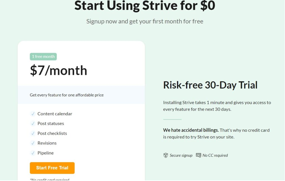 Strive Content Calendar Review Pricing