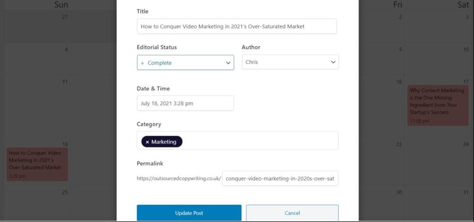Strive Content Calendar - Editing Posts