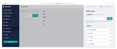 Content Type Post fields definition in Storyblok Components section
