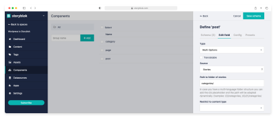 Multi-Options categories field for Content type Post