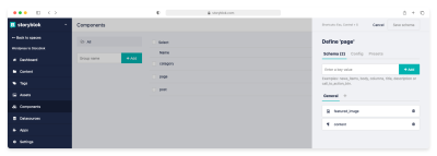 Content Type Page fields definition in Storyblok Components section.