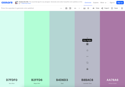 A Super-Fast Color Schemes Generator