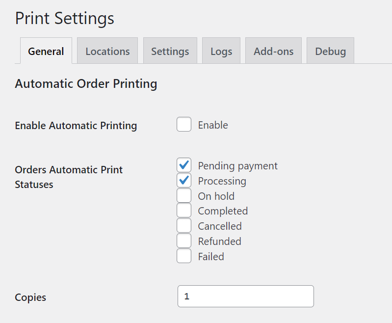 Choosing print settings.