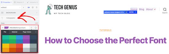 Customize menu color CSS Hero