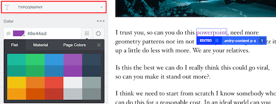 Select typography option