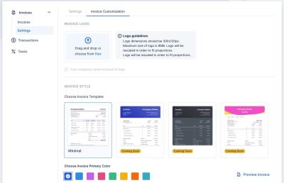 A screenshot of how you can customize your invoice with Trafft