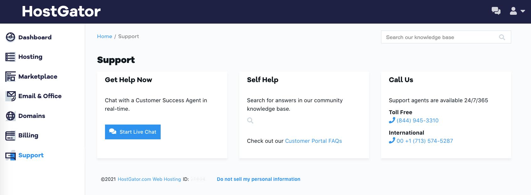HostGator support options