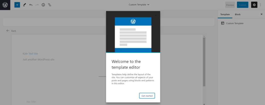 Creating a new template with the template editor