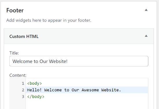 Enter Custom HTML