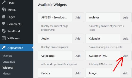 Add a Custom HTML Widget