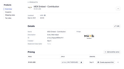 Screenshot of Stripe dashboard with a price of $1.00 for the MDX Embed Product