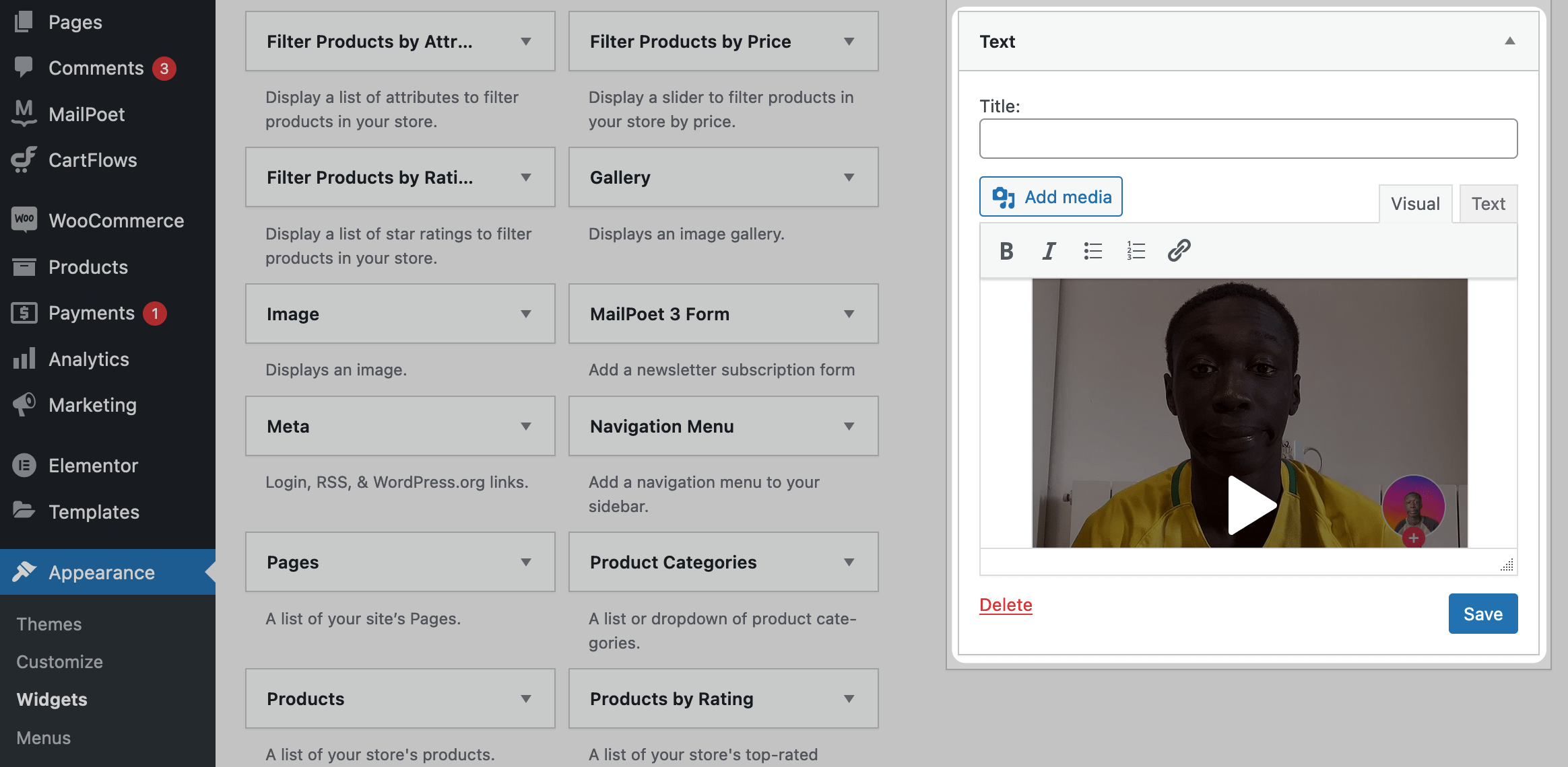 An embedded TikTok in a Text widget.