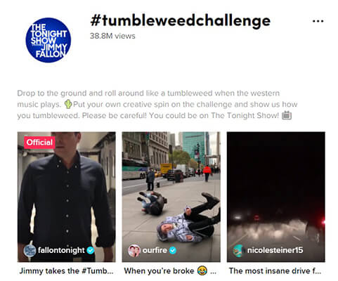 Jimmy Fallons #Tumbleweed challenge has amassed over 38 million views