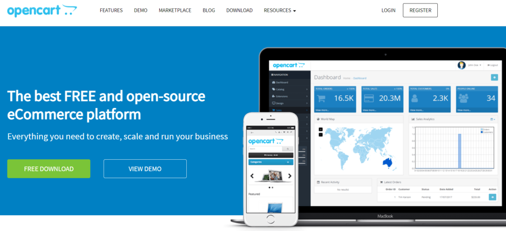 The OpenCart homepage.