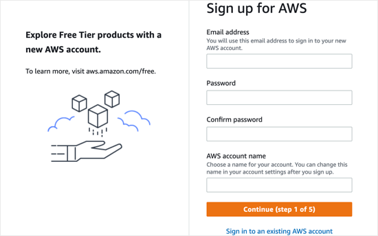 You'll Need to Sign Up for a Free Account with Amazon Web Services
