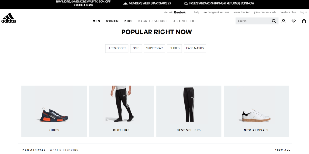 The Adidas online store homepage.