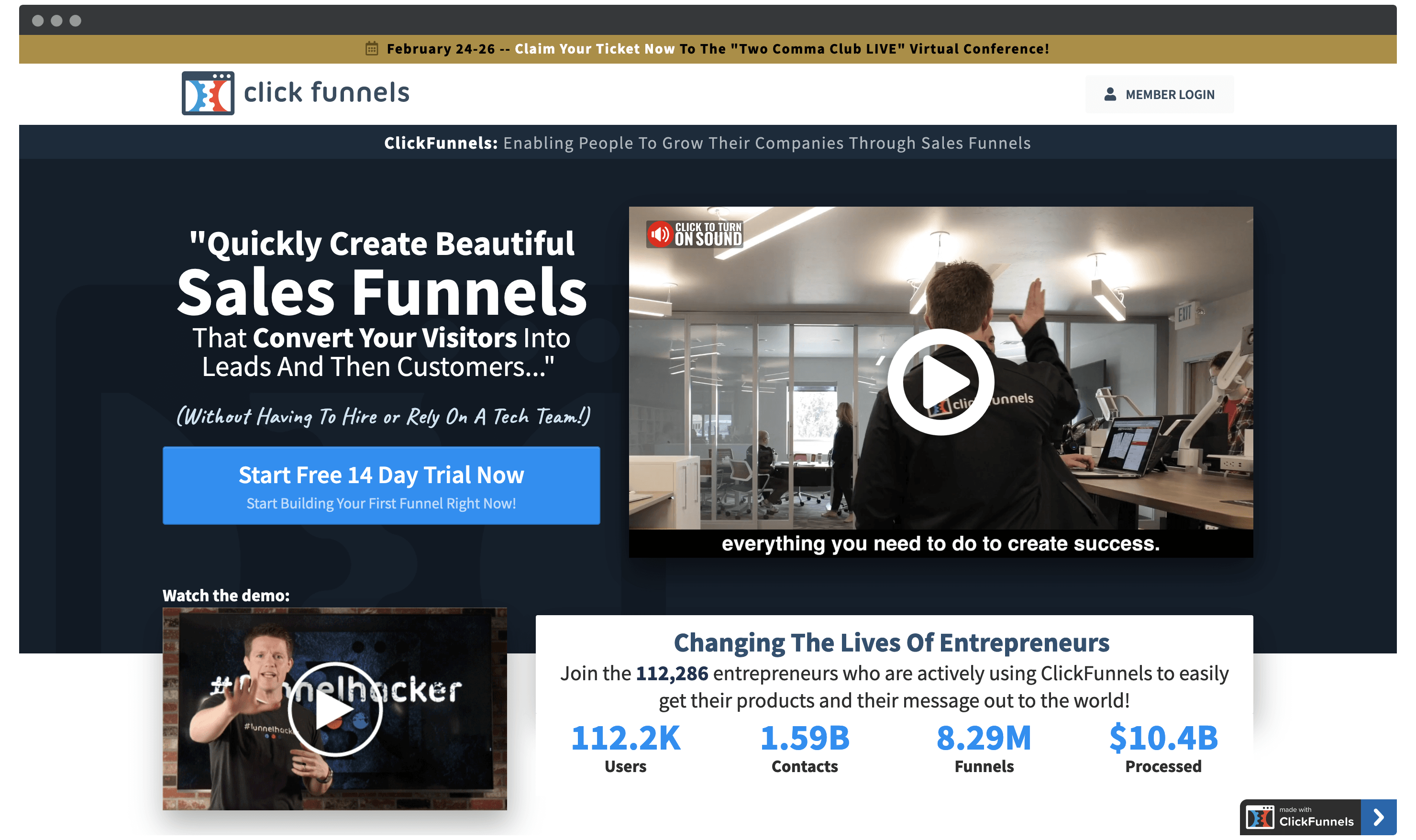 The ClickFunnels home page.