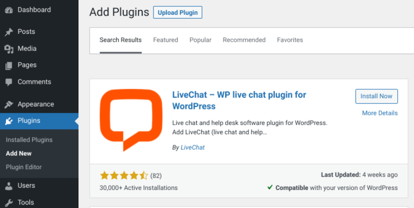 The option to install the LiveChat plugin in WordPress.