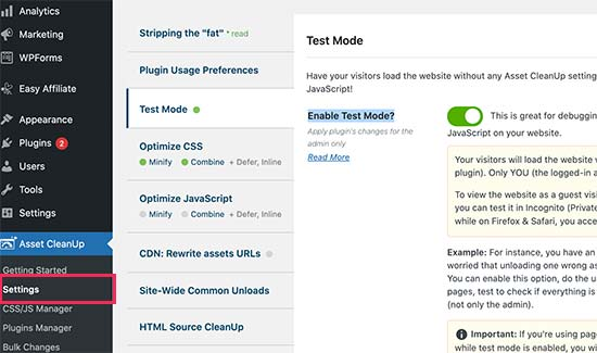 Enable test mode option