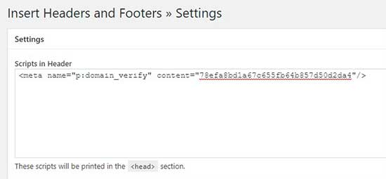 Insert HTML tag in header script section