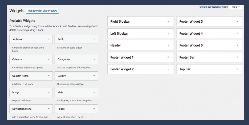 Screenshot of current WordPrss widget screen