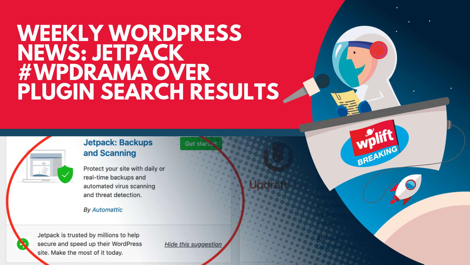Jetpack #wpdrama Over Plugin Search Results