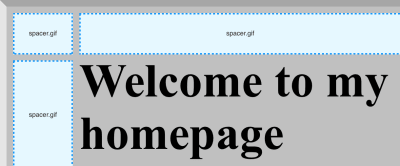 """Three stretched spacer.gifs used to create an outer margin for the text, """"Welcome to my homepage."""""""