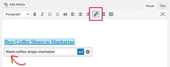 """How to """"Easily"""" Add Anchor Links in WordPress (Step by Step)"""