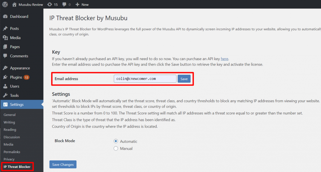 Musubu IP Threat Blocker Review: A Simple WordPress Firewall