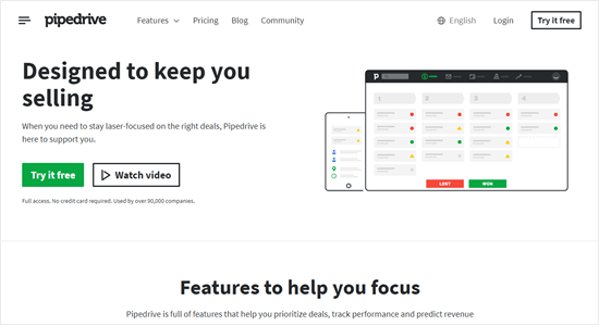 The Pipedrive website