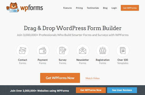 The WPForms website