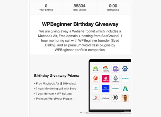 WPBeginner birthday example