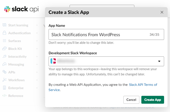 Name your app and select a workspace