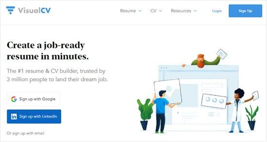 The VisualCV website homepage