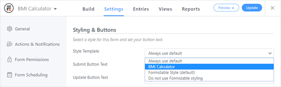 Choosing the style for your BMI calculator from the dropdown list