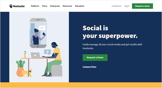 The Hootsuite website
