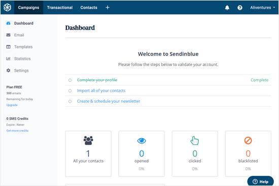 The Sendinblue dashboard