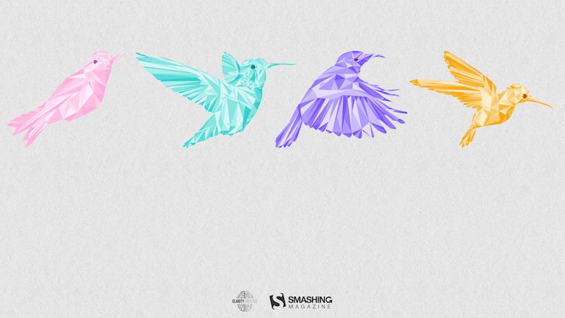 Illustration of four flying birds.