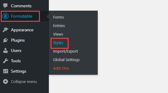 The Styles tab of Formidable Forms