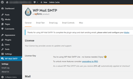 The WP Mail SMTP settings page in your WordPress dashboard