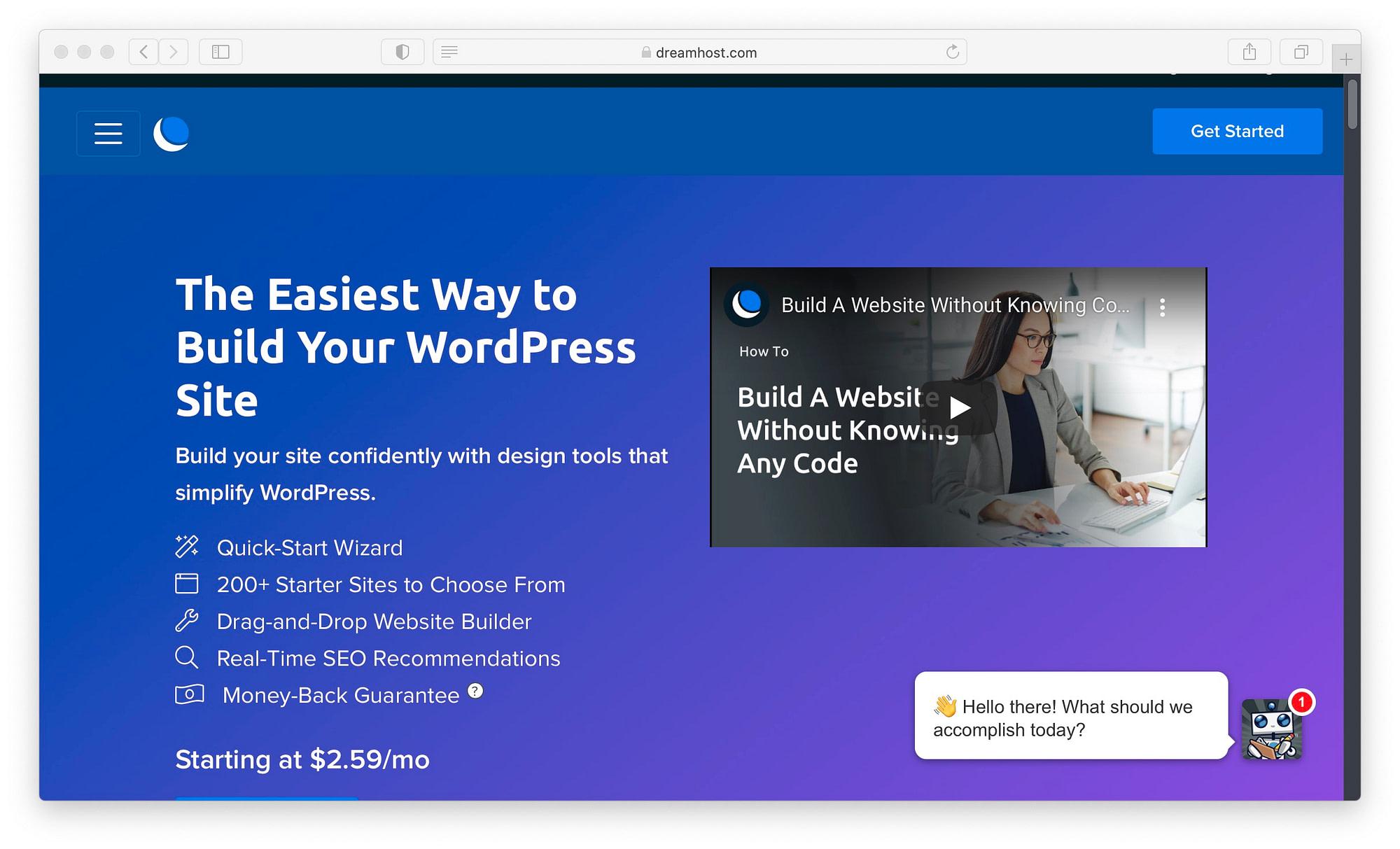 DreamHost's website builder