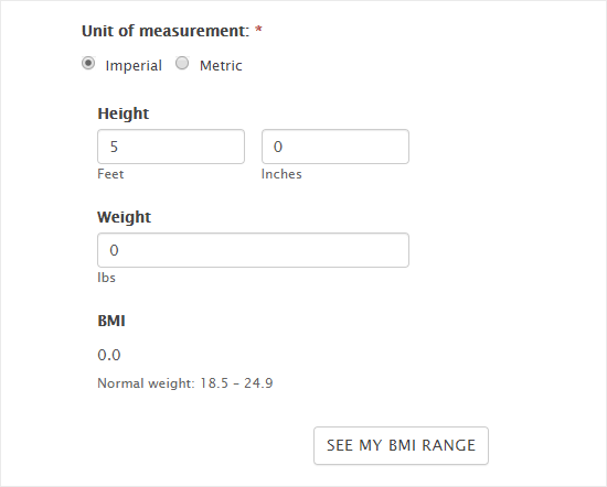 Viewing the BMI calculator on the website
