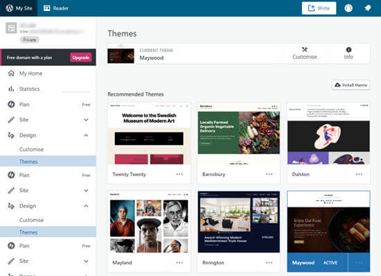 Some of the website themes available with WordPress.com