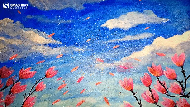 Drawing of Magnolia petals dancing in the air.