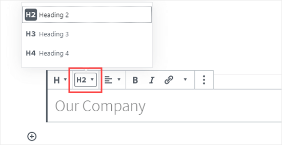 Selecting your Heading size in the block editor